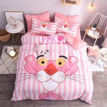 Розовый леопард хлопок три или четыре кусок набор маленькая девочка розовый мультфильм общежитии Детская хлопчатобумажная ins принцесса постельные принадлежности