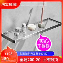 304 stainless steel drawing bathroom glass shelf wall hanging toilet cosmetic rack solid single-layer mirror front frame