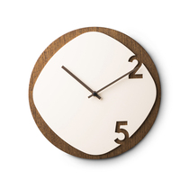 Italian imported clock simple creative design solid wood living room round wall clock home mute clock 30cm