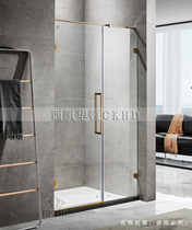 Light Luxury thin rod shower room shaped titanium gold frameless flat door stainless steel copper overall bathroom partition
