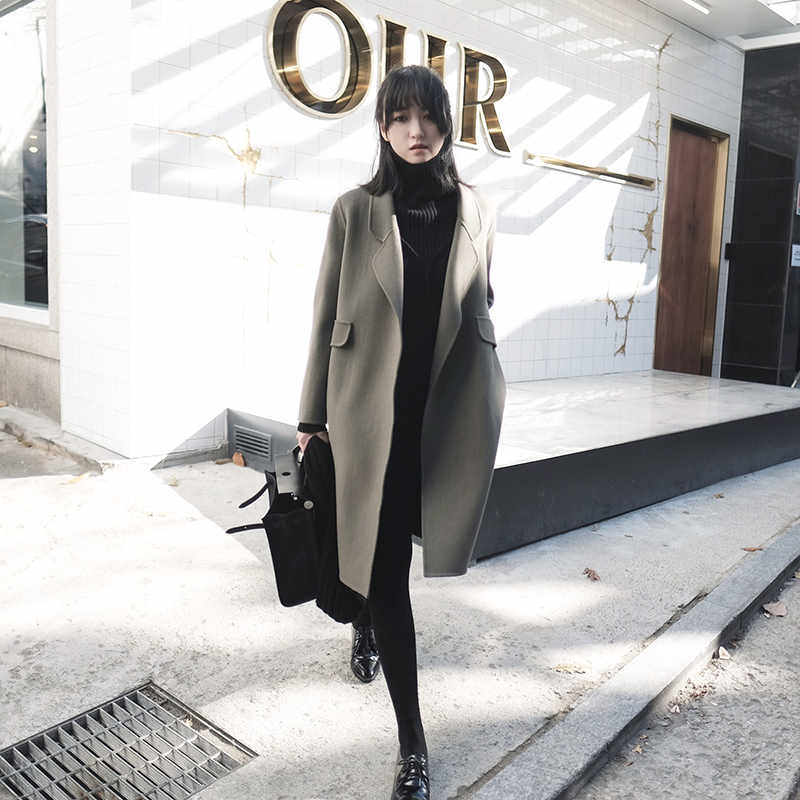 Double-sided cashmere coat womens 2020 autumn winter new Hepburn wind straight tube slimmed mid-length version of high-end wool coat