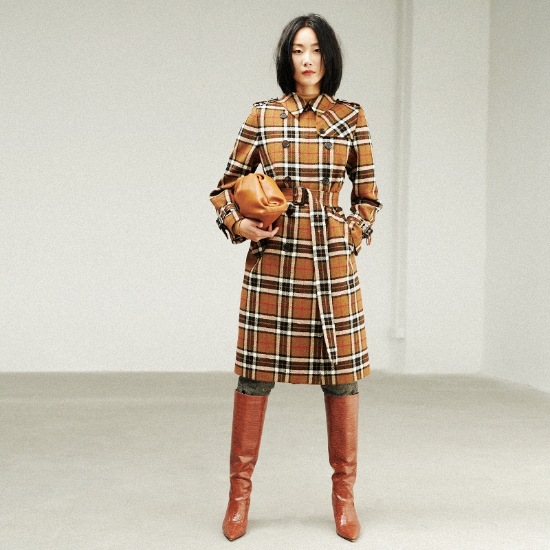 Bug b*b*ry wind UK import beautiful slave wool Scottish plaid coat coat