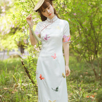 Butterfly embroidery Chinese vintage cheongsam