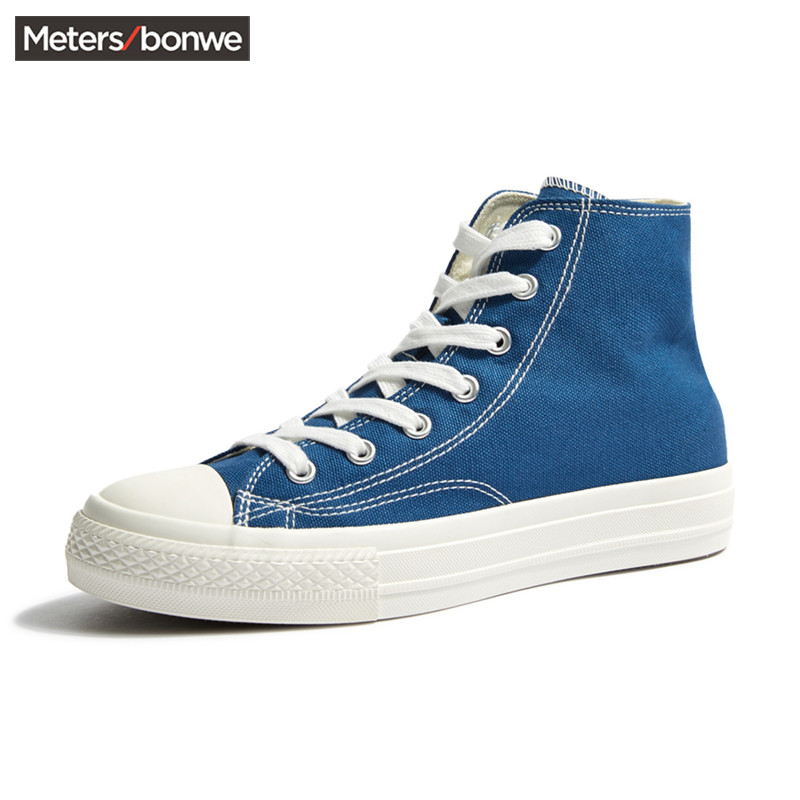 Metersbonwe high top canvas shoes for men 2020 new fall lovers classic trend solid color vulcanized shoes for women