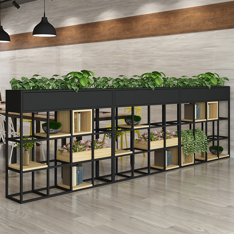 Iron restaurant partition decorative flower rack office frame industrial wind card seat green planting fence short partition screen