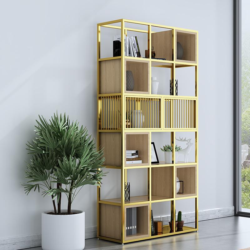 Office shelf floor against the wall entrance multi-storey storage rack creative iron display shelf shelf partition screen