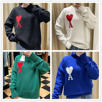 2021 French Autumn New ami sweater big love letter wool knitted round neck loose mens and womens models