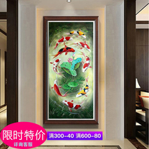 Pure hand-painted oil painting lotus nine fish picture porch decoration painting new Chinese style living room vertical version geomantic omen hanging painting nine carp picture