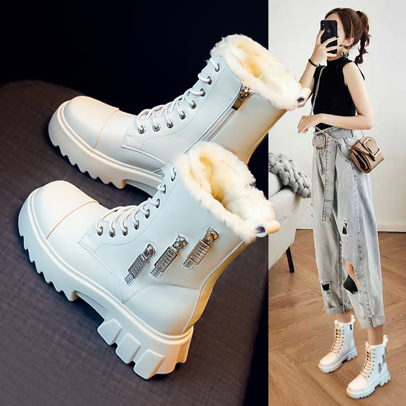 Snow boots women's shoes 2020 new hot style autumn and winter wild plus velvet thick cotton shoes short boots Martin boots