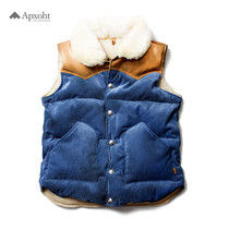 Instructor Tactical Down Vest retro wind high-end real wool collar sheep leather corduroy tough man antique button