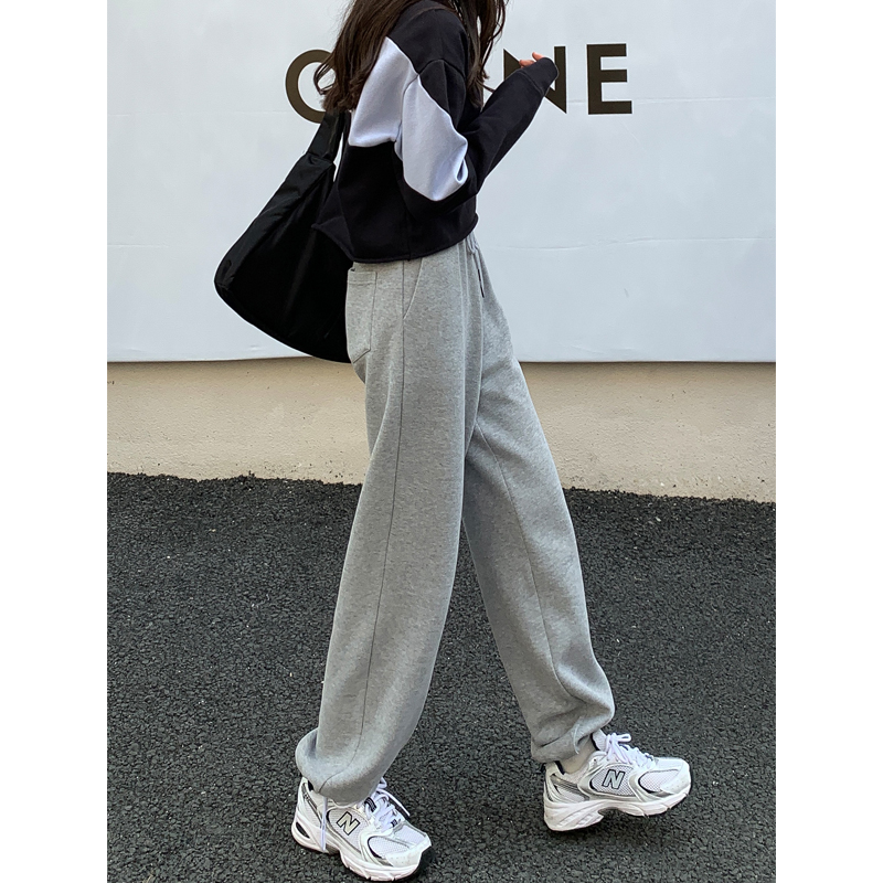 Grey sweatpants women autumn winter plus velvet loose show thin hundred tied feet outside wearing sweatpants casual straight broad leg trousers