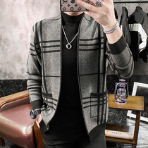 Grid sweater jacket mens cardigan Korean version trend wool knit sweater 2020 spring autumn new mens outer wear jacket
