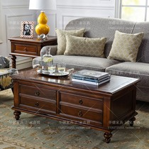 American country coffee table villa luxury large rectangular solid wood coffee table walnut wood four drawers