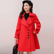Autumn and winter red woollen loose show thin back coat