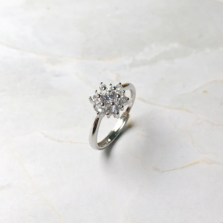 Live special 50 cents ten arrow zircon snowflake silver ring set live mouth