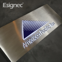 Company signs stainless steel hollow inlaid light box door head signs stainless steel signs acrylic signs