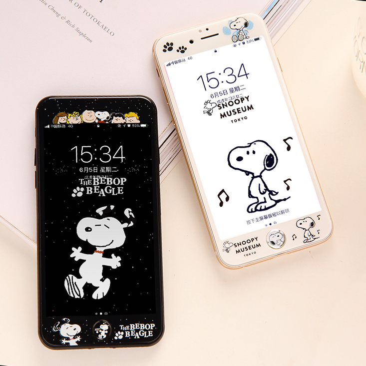 Snoopy Steel Film Apple 7plus Color Film 8p Steel Film iPhone6splus Full Screen Covering Soft Edge Germination