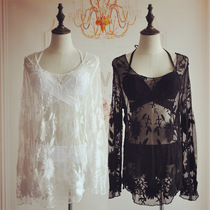 Black swimsuit jacket outside with transparent lace hollowed bikini blouse hot spring can be loose water mesh yarn