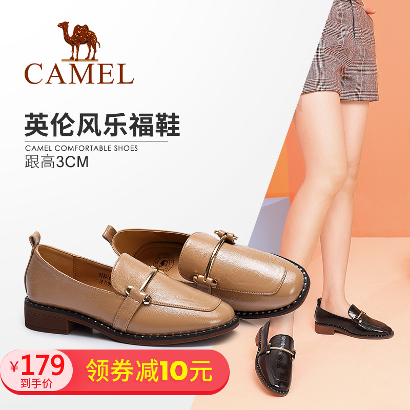 Camel women's shoes 2018 autumn new fashion comfortable square with foot Korean version of the wild England single shoes women