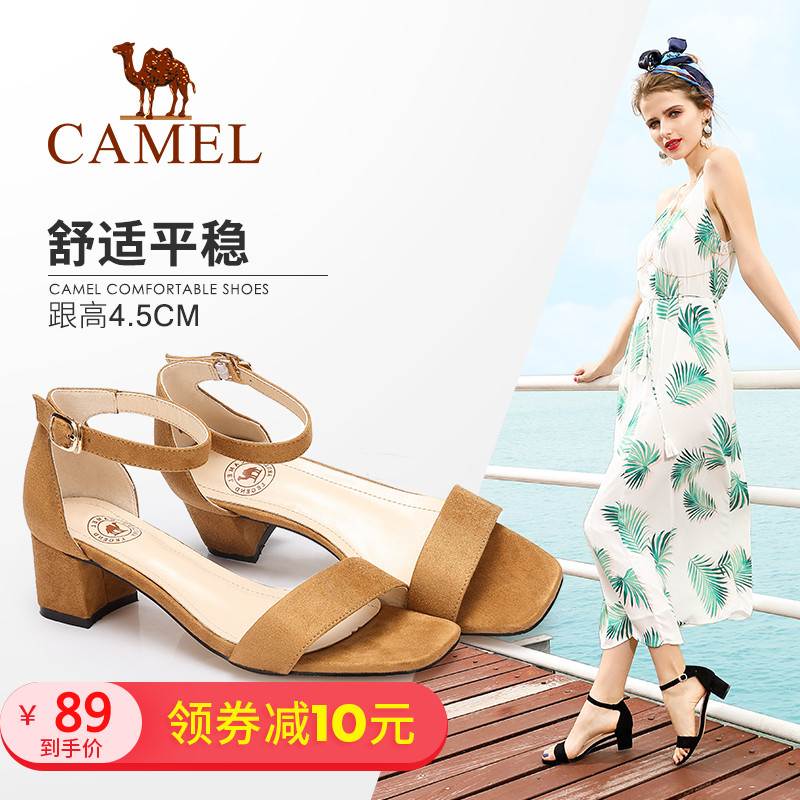 Camel women's shoes Fashion temperament open toe high heel sandals One-button buckle thick and suede Sandals female summer with the tide