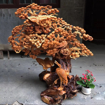 Taihang cliff Cypress root carving ornaments aging material Pine Crane extended year back flow Xiangshan water flower bird frame wood carving living room crafts