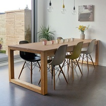 Nordic solid wood conference table and chair combination long table Simple log office desk Negotiation table Large workbench long table