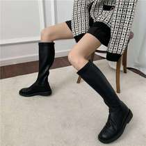99linda Korean straight handsome high-boot ultra-slim soft leather does not pick feet soft-soled Martin boots knight boots womens boots.
