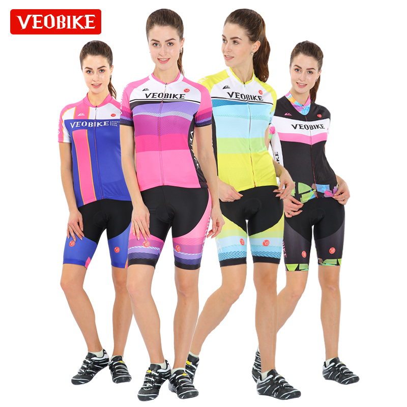Veobike unique summer short sleeve cycling suit tailored for women's cycling team