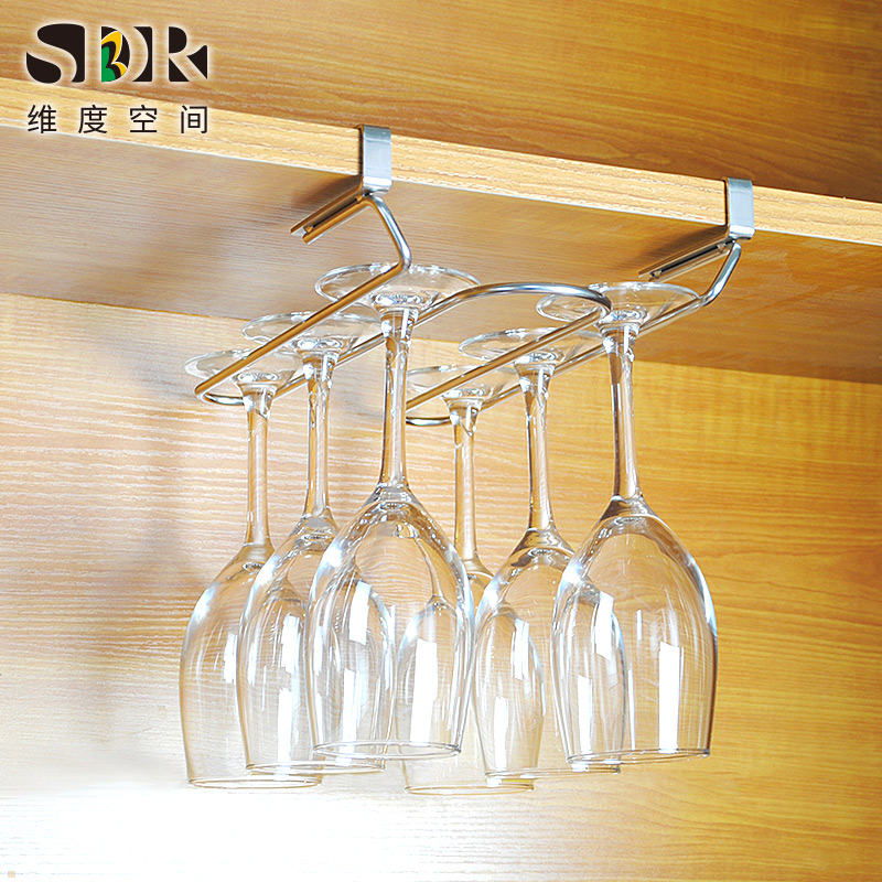 SDR Fourth Generation 304 Stainless Steel Red Wine Cup Rack Hanging Nail-free Wine Cup Rack Hanging Cup Rack Upside-down High Cup Rack