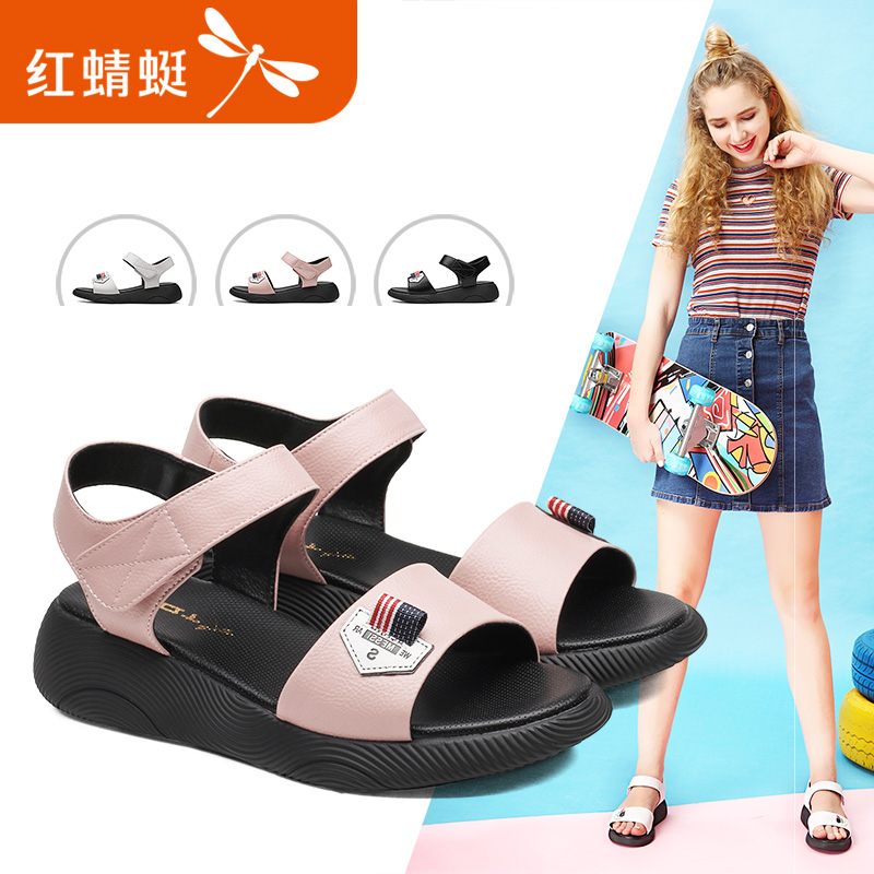 Red Dragonfly Women's Shoes Fashionable Young Leisure Sandals Korean Sports Women's Sandal Shoes Tide