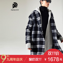 Facecity Wool double-sided woolen cashmere plaid trench coat