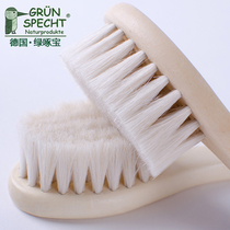 German green pecking bao natural mountain wool baby comb baby comb brush to head scale psoriasis baby soft hair Comb