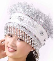 New Minority Headwear Female costume hat zhuang head jewelry Miao Dong hat silver