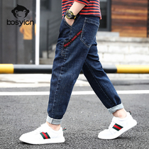 Boys Jeans Spring 2020 new foreign gas in the Big childrens clothing spring and autumn plus velvet thick pants childrens trousers winter