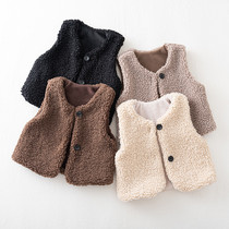 2020 new childrens clothing spring and autumn girls vest top Korean version of the tide of fashion female baby sweater vest 6173