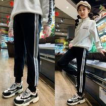Девушки брюки осенне-зимний открытый носить спортивные брюки весенняя одежда тонкие модели дети воздух плюс бархат случайные большие детские брюки весна осень