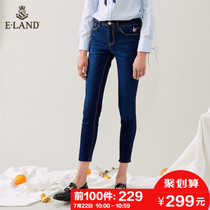 Limited 229) ELAND18 Autumn New Korean version of thin embroidery edging jeans pencil foot pants Girl