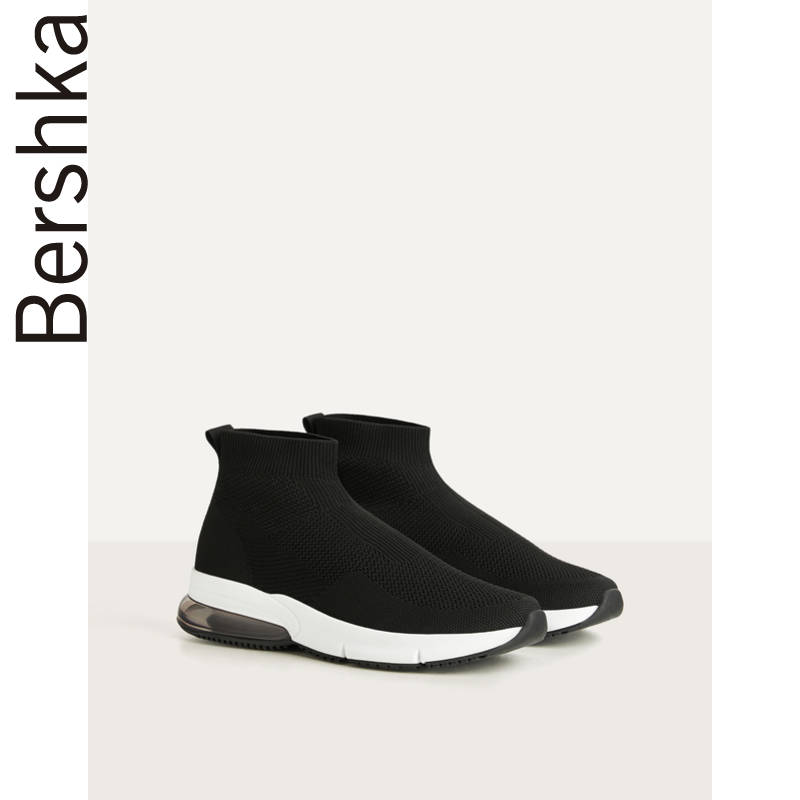 Bershka shoes spring 2020 new black air cushion thick bottom high tube sports shoes socks shoes 11531560040