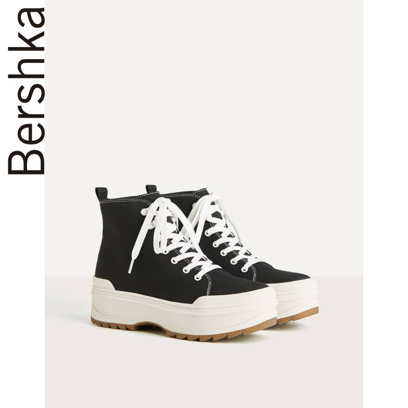 Bershka women's shoes 2020 new spring black thick bottom high drum canvas sneakers for women 11430560040