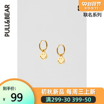 Pull-BEAR Smiley co-branded series of smiley gold-plated earrings temperament fashion ins wind 05992316.