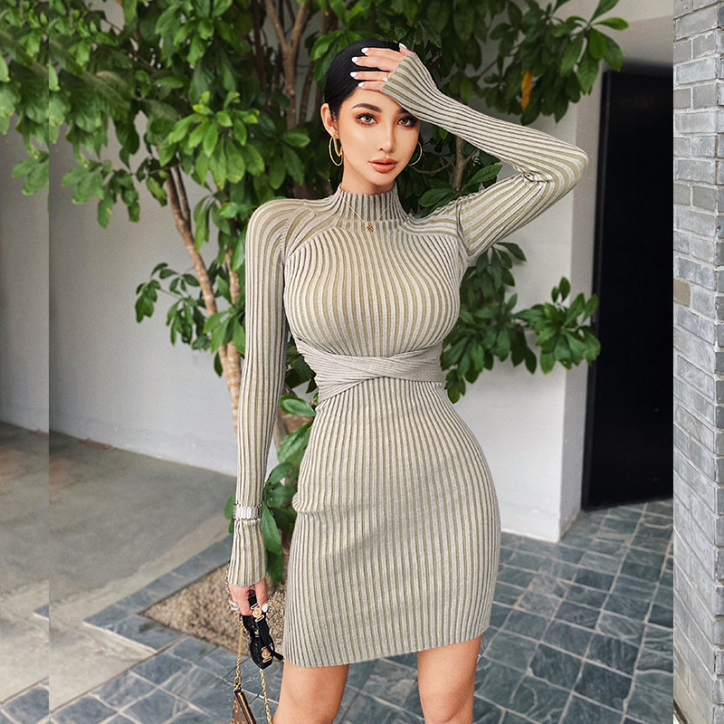 Helen European and American sexy knit dress women's slim bottom skirt big halter machine tight-fitting hip short skirt