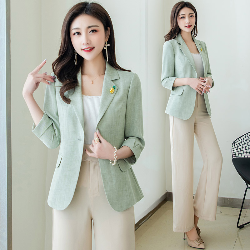 Small suit womens blouse spring 2021 new Korean version of loose age reduction trend wild one button blazer