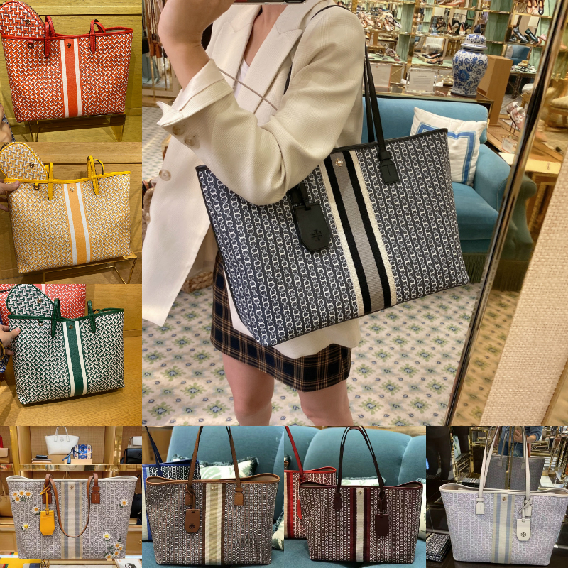 Genuine purchasing Tory Burch handbags TB presbyopia shopping bag canvas portable tote bag shoulder messenger bag