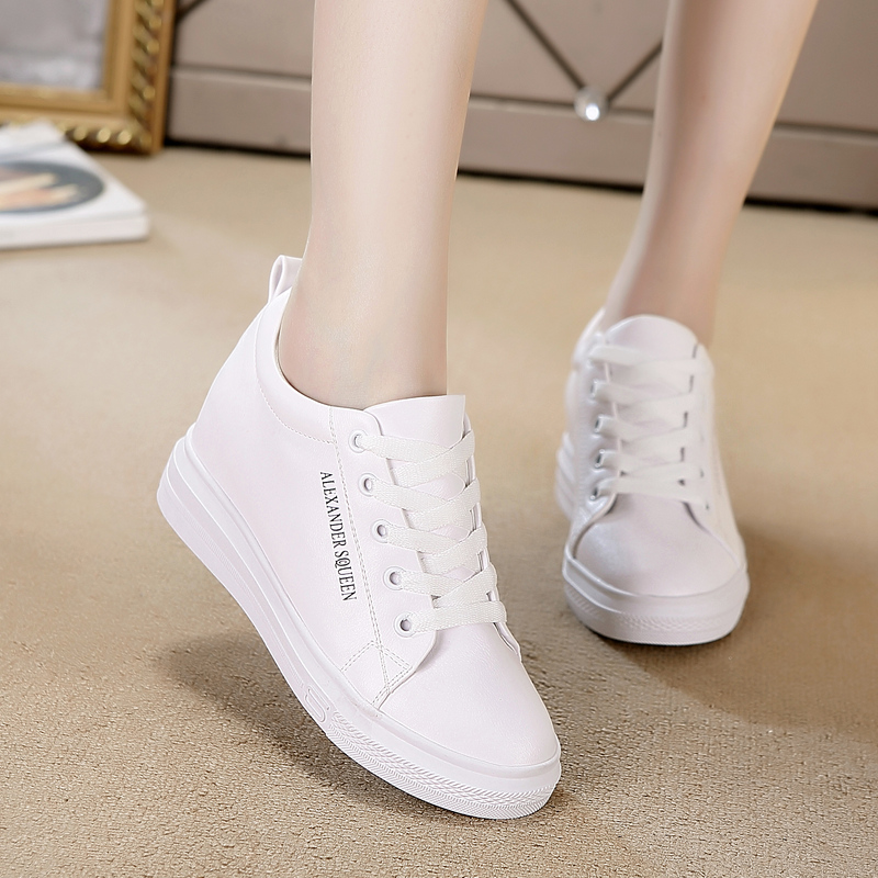 Naizhengao women's shoes show their feet and increase their feet in small white shoes