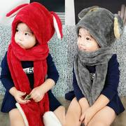 Children warm winter scarf hat gloves one ear cap Plush children thickened warm three suit
