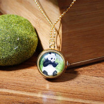 Retro Wind creative panda pocket watch clock pendant necklace Sichuan Chengdu Travel Commemorative Gifts to send friends collection