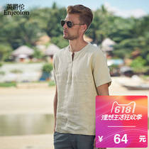 Engelund summer vintage linen V-neck short-sleeved T-Shirt refreshing cool simple tops men's half Chao brand