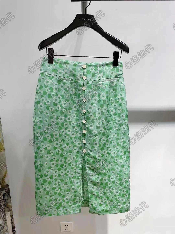 SANDRO Spring   Summer 21 Daisies printed breasted mid-length skirt SFPJU00483