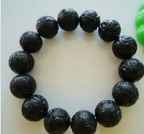 Pure natural Fushun coal refined jade handmade carved round beads 16-17mm hand string bracelet Male