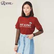 Roem Luo research spring new lace slim stitching long-sleeved T-shirt female casual thin sweater rclw81102q